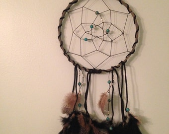 Black and turquoise dreamcatcher