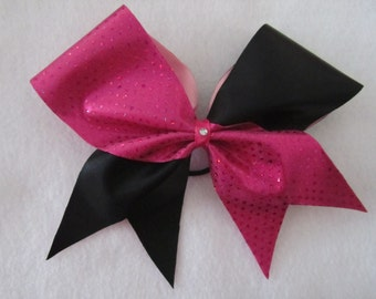 Here To Cheer Pink and Blak Tic Tock Bow
