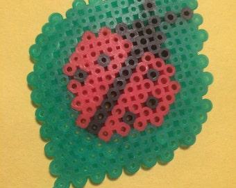 Ladybug on a leaf perler bead