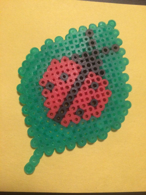 9181f68a6 Ladybug on a leaf perler bead jpg 1125x1500 Leaf perler beads