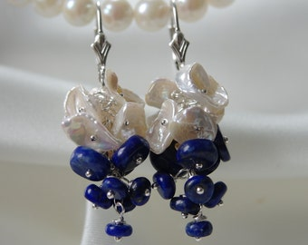 Lapis lazuli keshi Pearl grapes lapis lazuli Keshi grape earrings earrings