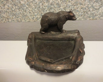 Antique Bronze Bear ashtray