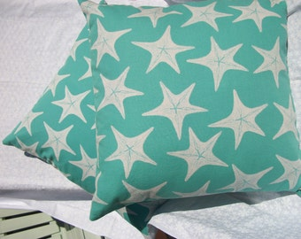 Turquoise w/White Starfish pair of pillow covers 20x20 inches