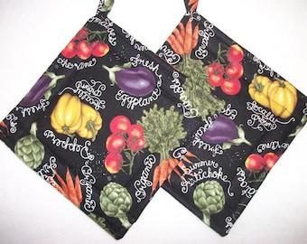 Chalkboard Veggies Handmade Pair of Pot Holders, Garden Veggies Pair of Pot Holders, Chalkboard Veggies in Kitchen, Tomatoes  Pot Holders