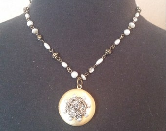 Pearl and Gold Rose Locket Necklace