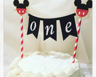 Mickey Mouse cake topper-Mickey mouse cake bannerphoto prop-baking supplies-Mickey birthday banner-first birthday party supplies-mickey