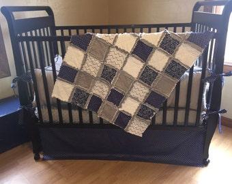 Baby navy/grey stars crib bedding set