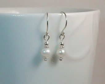 Single Pearl and Silver Earrings