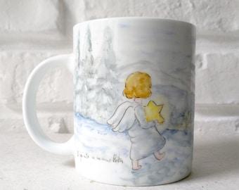 White ceramic mug hand painted