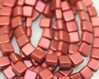 2 Hole Tiles, Czechmates, Lava Red, 6mm, 25 Beads