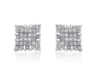 1.00 Carat Diamond Stud Earrings 14K White Gold