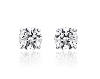 0.85 Carat Round Brilliant Cut Diamond Solitaire Stud Earrings 14K White Gold