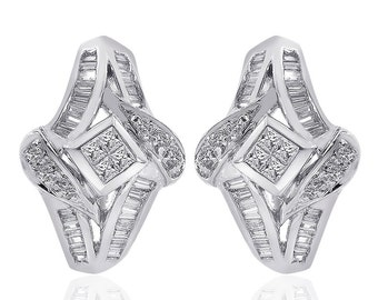 1.00 Carat Diamond Cascading Cluster J-Hoop Earrings 14K White Gold