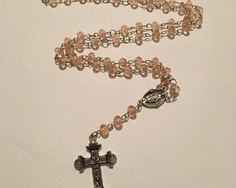 Light Pink Rosary Necklace