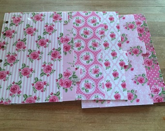 Rose Shabby chic pocket, personal, or A5 planner dividers / planner supplies / planner accessories / dividers / dashboard
