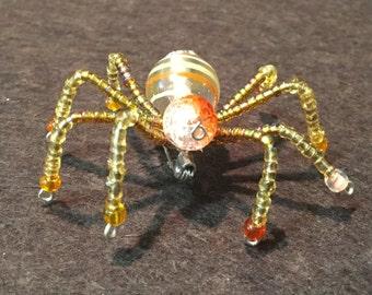 Autumn Glow Orange Translucent Fall Spider Brooch