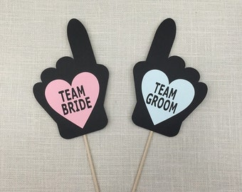 Team Bride and Team Groom Hand Signs - Photo Booth Props - Wedding Party Photo Props -Photobooth Props - FULLY ASSEMBLED - Set of 2