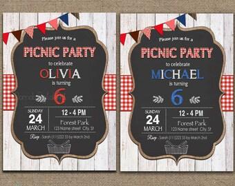Picnic Birthday Invitation, picnic invitation, Picnic Party Invitation, Picnic Birthday Party Invitation, Printable Picnic Birthday, Bbq