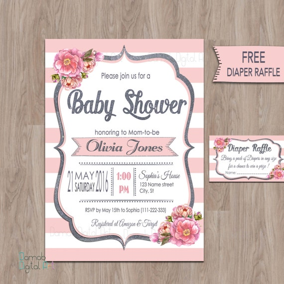 pink gray baby shower invitations pink baby shower invitation baby