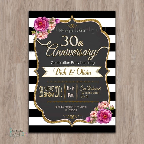 30th Anniversary Invitations 30 Year Anniversary Invites
