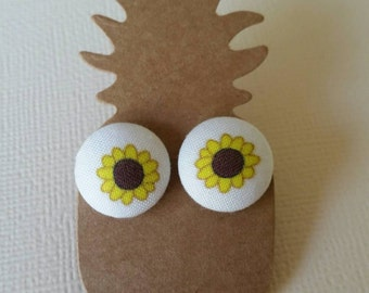 Handmade fabric sunflower button stud earrings 15mm