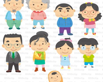 SALE - Limited Time Offer -  Adorable cartoon character - Family - Clipart set
