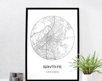 Santa Fe Map Print - City Map Art of Santa Fe New Mexico Poster - Coordinates Wall Art Gift - Travel Map - Office Home Decor