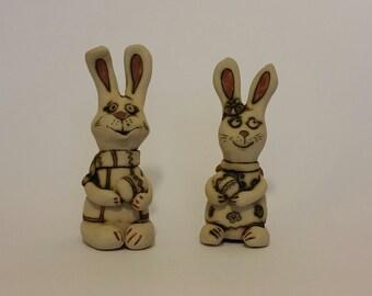 bunny's,ceramic bunny,pair of bunny's,ceramic miniatures,Easter bunny,ceramic Easter bunny's,handmade mini sculptures,ceramic bunny,