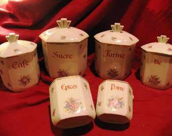 Antique ceramic spice cans