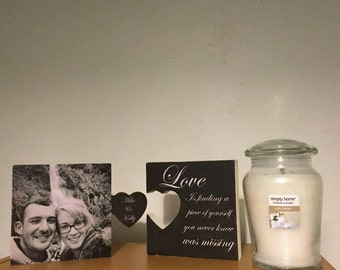 Personalised photo heart jisaw block