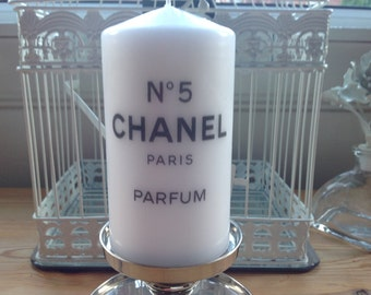 Hand Decoupaged Designer Inspired Chanel No 5 Large White Pillar Candle Great Gift