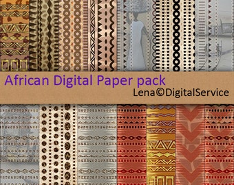 African Digital Paper pack INSTANT DOWNLOAD Ethnic printable decoupage