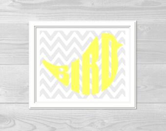 Wall Print - Bird - Yellow & Grey