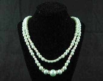 Mint, Silver and Swarovski Crystal Double string necklace