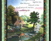 """Creative Springs Fabric ... For God So Loved Large Panel 100% Cotton Quilt Shop Quality  1 yd  35"""" x 44"""""""