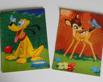 "Vintage Children's Sewing Cards - Colour Prints of Disney's Bambi & Pluto 6"" x 8"""