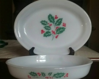 Vintage Dynaware Pyr-o-rey Holiday Platter and Bowl