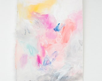 SALE** Small Abstract Drawing on Paper with Pink, Blue, and Yellow