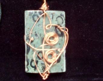 Copper-Wrapped Kambaba Jasper Pendant