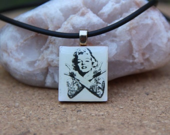 Funky Marilyn Monroe,  Black and White square pendant