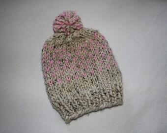 Knit Chunky Hat, Knit Pom Pom Hat, Knit Winter Hat, Knit Pink Hat