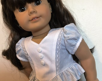 Frilly pinstripes blouse  fits American girl dolls