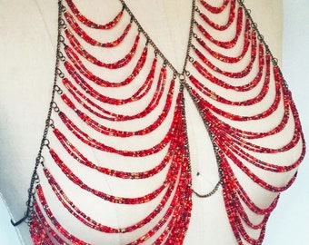 Red Beaded Halter Body Jewelry