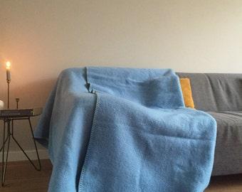 Heavenly Blue Wool Blanket / Vintage Throw