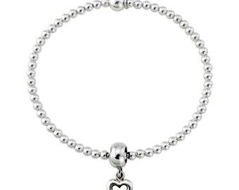 Trink Open Heart Sterling Silver Beaded Charm Bracelet