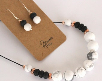 Marble, Black & Rose Gold Necklace and Earring Set
