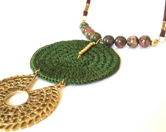 Ethnic boho necklace, unakite necklace, Long necklace with moss agate, crochet necklace, statement necklace