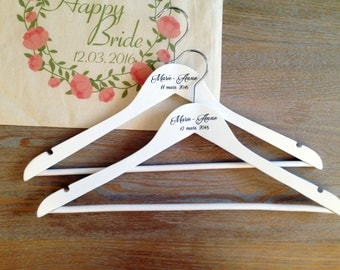 "Custom hanger ""First name of the bride + DATE"" (wedding, gift original evjf, Mrs, bridesmaid, witness)"
