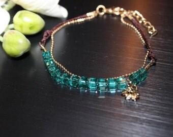 Green Crystal Beaded Bracelet