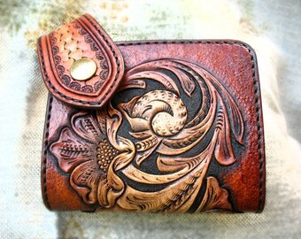 Hand tooled, hand carved, S_R Sheridan Business card case.